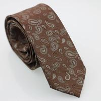 YIBEI Coachella Man Fashion Skinny Neckties Slim Jacquard Gravatas Brown Ties Gray Paisley Woven  Casual Narrow Neck Tie Wedding