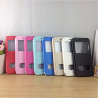 Silk PU Leather Flip Window View Flip Stand Cover Case For Apple iPhone 6 4.7''