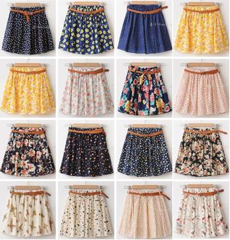 Новый 2014 женские летние юбки свободного покроя симпатичные над коленом мини короткие ...