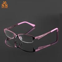 High End Brand Super Light Resin Ladies Presbyopic Glasses, Red Metal Half Frame Old People Reading Eyeglass,Pink,Purple,G393