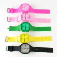 5pcs New Fashion Casual Plastic Rectangle Analog sport candy watch fashion jelly wrist silicone watch, Free Shipping #1604