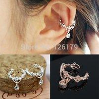 1PC Fashion Ear Cuff Gold Silver Cutout Flower Water Drop Crystal No Pierced Clip Earrings Ear Cuff for Women boucles bijoux