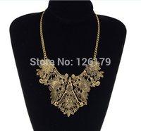 Fashion Retro Vintage Gold Plated Flower Bib Collar Statement Necklaces & Pendants for Women