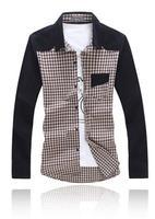 6XL High Quality 2014 New Men's Shirt Blusas Masculinas Long Sleeve Patchwork Plaid Plus Size Male Shirt Mens Dress Shirts