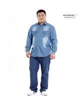 Plus Size 8XL 9XL 10XL Autumn Influx of New Long-sleeved Blue Cowboy Mens Shirts 5XL Loose Long-sleeved Male Denim Shirt