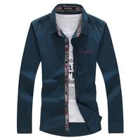 Casual Cotton Long-sleeved Slim Fit Camisas Masculinas Mens Dress Shirts Man Spring 2014