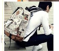 Wholesale women retro newspaper design backpack leisure fashion lovers bags men's travel bags