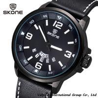 New Arrival 2014 Luxury Brand Leather Watch Men Luminous Watch Date Calender Japan Quartz Movement Free shipping