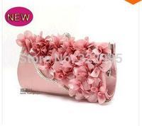 New Women Satin Handbag. Lace Three-Dimensional Flowers Elegant Bride Clutch Pouch. Chain Messenger Tote Evening Bag Multicolor