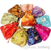 2014 Latest Embroidered Drawstring Party gift Packaging Bags Small Satin Fabric Reusable Storage Pouch 10pcs/lot mix color Free