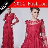 2014 new evening autumn women vestidos party elegant desigual vestido longo lace fashion bodycon woman long dress 926LX