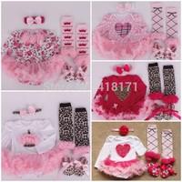 0-12M Baby Infant Girl Super Cute Princess 4pcs Sets Long Sleeve Romper Dress+Headband+Stockings+Shoes Clothing Sets