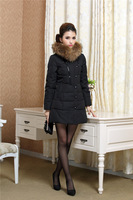 2014 New Winter Fashion Large Racoon Fur Collar Long  Thickening Slim Down  White Duck Down Outerwear women's Jacket C-WJ1015