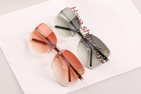 Women Fashion Sunglasses Square metal frame butterfly decorate women brand oculos de sol free shipping 2014 new 10 pcs/lot