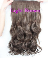 Big discount hot sale brown black color wavy curly women hair extension new fashion good quality women hair pad 1 piece