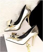 Hotsale 2014 Size 34-39 Thin Heel Metal color Women's Pumps High Heels black Bottom Vintage Sexy Women bowtie heels shoes 4color