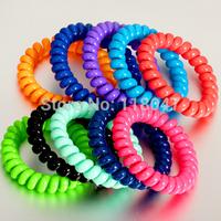 Free shipping Fashion hair accessory  telephone line hair ring colourful Elastic hair band