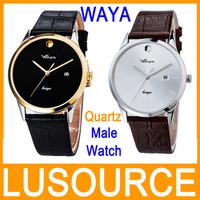 New Men Male Fashion Classical Quartz Wristwatch Business Leather Watchband Slim Waterproof Table Calendar Fashion Wristwatches