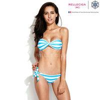 B351 Sexy Blue & White Stripe Twist Bandeau Top with Removable Halter Strap Bikini Set Swimwear Women Bathing Suit 2014 New