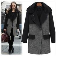 Fashion women's wool coat female raccoon fur woolen outerwear medium-long thickening 2014 women's coats coat women