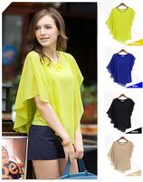 New Women's Clothing Blouses Shirts Chiffon Flouncing Bat sleeve Blouse Ladies O-neck Tops S003