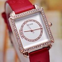 Fashion Korean Brand KEZZI Women Crystals Watches Leather Strap Quartz Analog Wristwatch Delicate Dress Clock Relojes 1ATM W1725