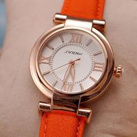 Popular SINOBI Brand Women PU Leather Dress Watches Quartz Roman Scale Analog Wristwatch Luminous Relojes Water Resistant NW1726