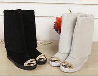 hot sell casad knee-high women boots heels wedge 2014 genuine leather slip-on casade women autumn winter boots