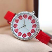Lovely Enamel Daisy Garland Women Dress Watches Quartz Leather Strap Wristwatch Korean Style Analog Clock 3colors Relojes NW1740