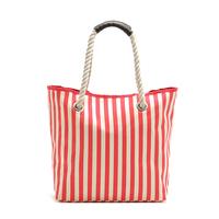 Free Shipping export janpan order women fashion shopping bag , dot  with striped print canvas women shoulder bag item no:77740