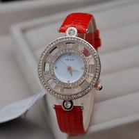 New Brand KEZZI Women Crystals Dress Watches Novel Hollow Case Analog Wrist watches Leather Strap Quartz Clock Relojes NW1734