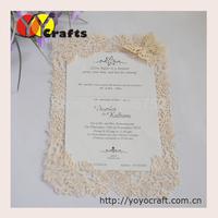 Unique design simple flower lace invitation card europe wedding invitation card with envelope