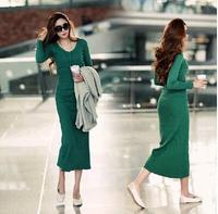 6 Color 2014 autumn winter long design Mid-calf plus size slim sheath 100% cotton women casual dress,Korean style V-neck vestido