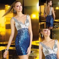 Sexy Slivery And Blue V-neck Short Mermaid Cocktail Dress E117