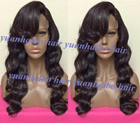 Top Quality Grade 6A #1b virgin peruvian wavy lace front wigs side bangs real human hair wigs for black women free shipping
