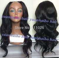 "Hot Fashion U Part Wigs 18""#1b virgin malaysian wavy human hair u part lace front wigs natural hairline free shipping"