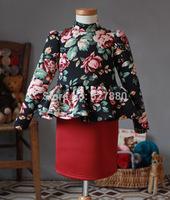 amber berry 4825 2014 autumn new high-end printing cotton girls princess dress children