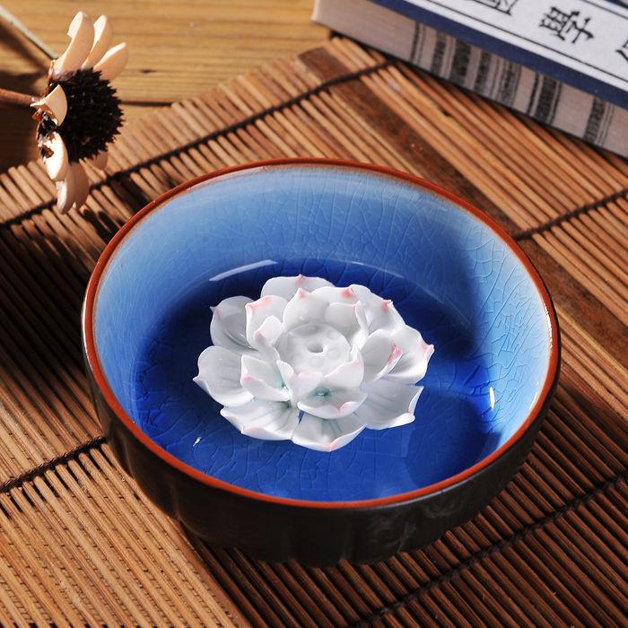 Ceramic hong plate incense burner handmade lotus line incense holder perfume(China (Mainland))
