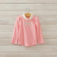2014 New,girls autumn fashion tops,children cotton t shirts tees,long sleeve,hot drilling,pink/green,5 pcs/lot,wholesale,1850