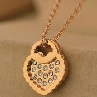 14k rose gold plated heart&crystal necklaces