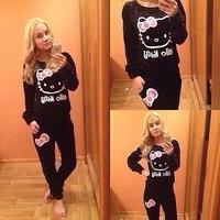 New Fashion 2014 Black Cute Cat Bow Women hoody women two piece top and pants women clothing set