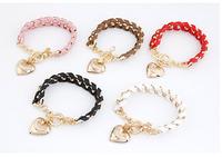 2014 Fashion Joker Peach Heart Pendant Simple Round Metal Bracelet Leather multi- Bracelet For Woman Jewelry Wholesale,12pcs/lot