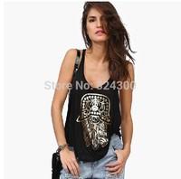 A449 2014 Fashion Women black Hand of Fatima printed tank tops Free Shipping