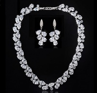 New Arrival Popular Luxury Clear AAA Cubic Zirconia Mona Lisa Drop Earrings and Necklace Bridal Wedding Dinner Party Jewelry Set
