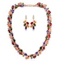 New Arrival Popular Luxury Multicolor Stone AAA Cubic Zirconia Mona Lisa Drop Earrings and Necklace Bridal Wedding Jewelry Set