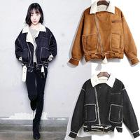 2014 New Women Suede Fabric Coat Lambs Overcoat Short Type Lamb Fur Coat Warming Women Jacket Winter Outerwear A215