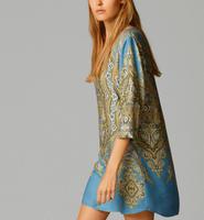2014 New Autumn Women Vintage National Wind Totem Prints  V-Neck Three Quarter Dress, Ladies Brief Straight Mini Dress q301