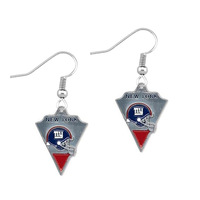 Free shipping 50pair a lot rhodium plated enamel NFL New York Giants team logo sports earring(E108422)