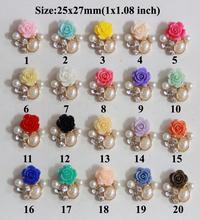 Free Shipping Wholesale 20pcs/lot 25x27mm Flower Rhinestone Flatback Button For Hair Flower Wedding Invitation LSFY013(China (Mainland))