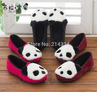 free shipping new style children Fashion Cartoon panda head princess shoes plus velvet shoes baby Princess Shoes